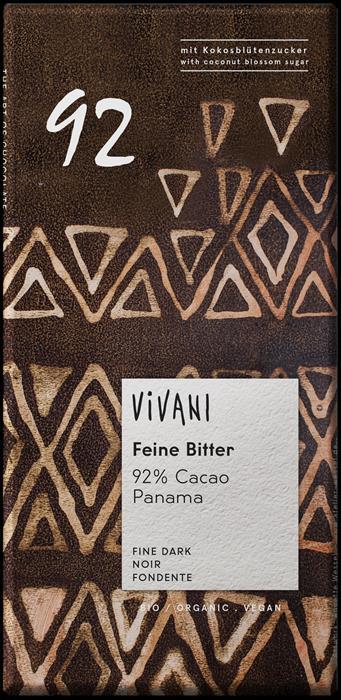 CHOCOLATE ESCURO 92% CACAU 80GRS VIVANI