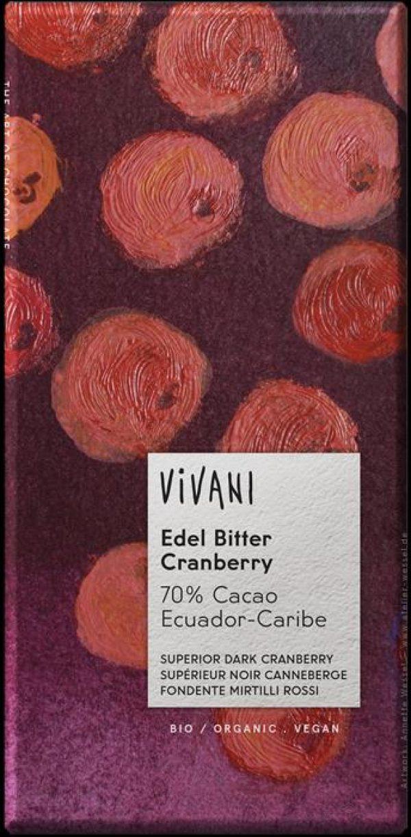 CHOCOLATE NEGRO C/MORANGO BIO 70%CACAU 100GRS VIVANI