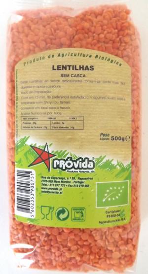 LENTILHAS SEM CASCA BIO 500G PRÓVIDA