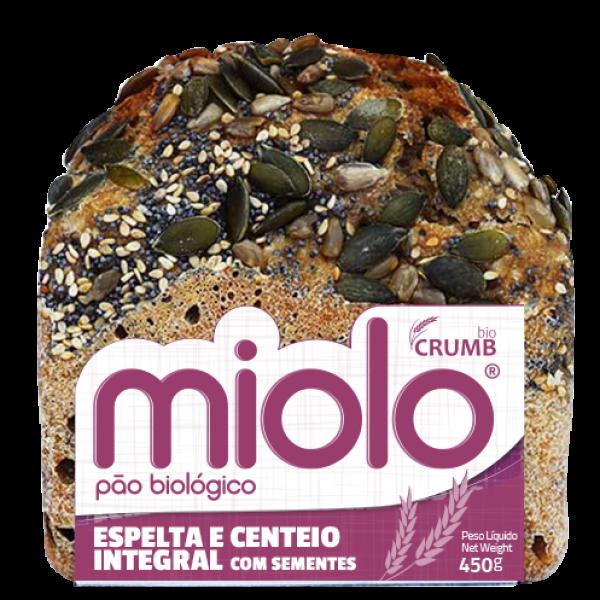 PÃO DE ESPELTA E CENTEIO INTEGRAL C/ SEMENTES BIO 450GR
