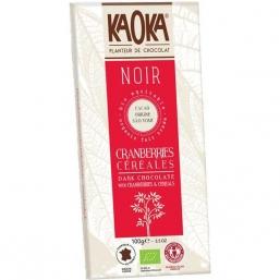 CHOCOLATE NEGRO 66% CACAU C/FLOCOS MILHO E ARANDOS BIO 100GRS KAOKA