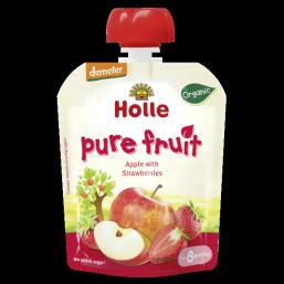 Puré fruta maçã morango 8M Bio 90g Holle