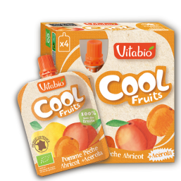 PURÉ MAÇÃ PÊSSEGO ALPERCE BIO 90G COOL FRUITS