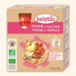Sobremesa fruta maçã morango baunilha Bio 90g BabyBio