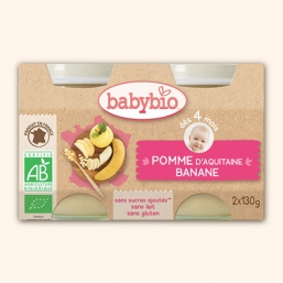 Boiões maçã banana Bio 2x130g Babybio